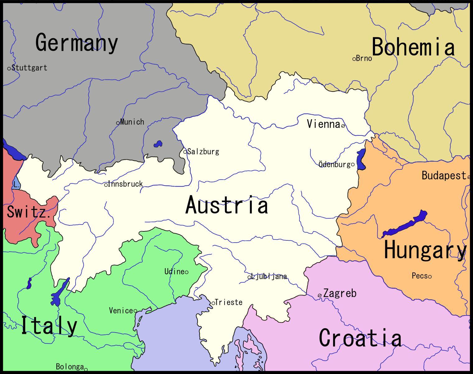 Mapa Viden Rakousko A Okoli Mapa Vidne A Okoli Rakousko