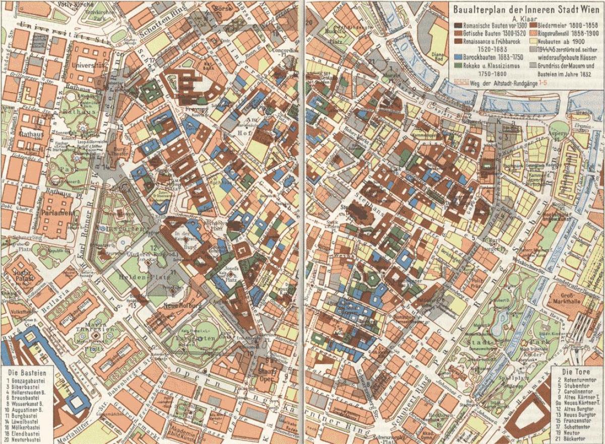 Vienna Old Town Map Viden Stare Mesto Mapa Rakousko